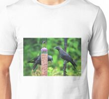 Young jackdaws on bird feeder Unisex T-Shirt