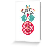 curly whirly lovebirds with heart flowers Greeting Card