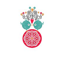 curly whirly lovebirds with heart flowers Photographic Print