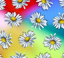 Daisy Heads on Multi-Colored Background, Original Art by Joyce Geleynse