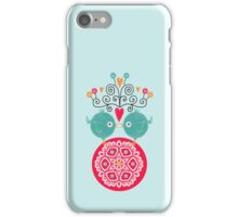 curly whirly lovebirds with heart flowers iPhone Case/Skin