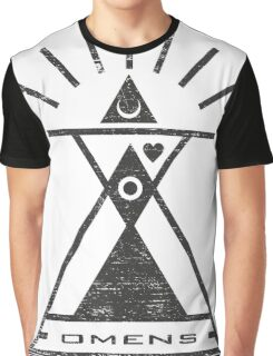 Omens - Typography and Geometry Graphic T-Shirt