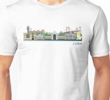 Lisbon skyline colored Unisex T-Shirt