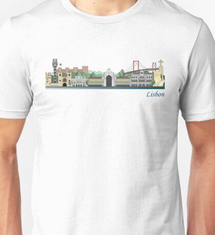 Lisbon skyline colored Unisex T-Shirt