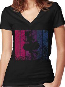 Puella Magi Madoka Magica - Madoka Nakama Silhouette (Rust) Women's Fitted V-Neck T-Shirt