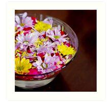 Bowl with chrysanthemum flowers Art Print