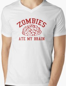 Zombies Ate My Brain Mens V-Neck T-Shirt