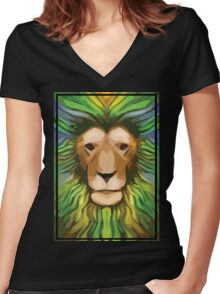 The King Of The Jungle Women's Fitted V-Neck T-Shirt