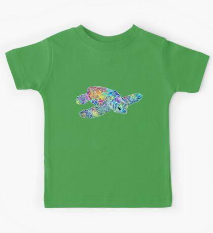 Sea Turtle Watercolor Art Kids Tee