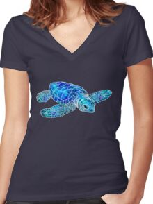 Sea Turtle Watercolor Art Women's Fitted V-Neck T-Shirt