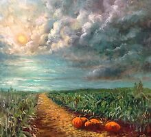 Pumpkins in the Moonlight by Randy Burns aka Wiles Henly