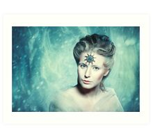 Winter beauty fantasy woman portrait Art Print