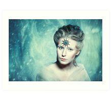Winter beauty fantasy woman portrait Art Print