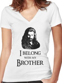 """""""I Belong With My Brother."""" Women's Fitted V-Neck T-Shirt"""