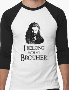 """I Belong With My Brother."" Men's Baseball ¾ T-Shirt"