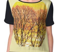Nature and Geometry - Trees and Sunset Chiffon Top