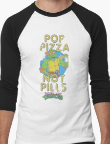 Pop Pizza Not Pills Men's Baseball ¾ T-Shirt