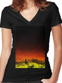 Burning Hill Women's Fitted V-Neck T-Shirt