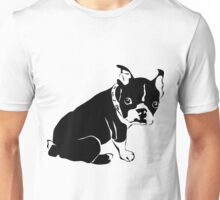 A bulldog terrier looking dog in black and white Unisex T-Shirt