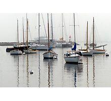 Foggy Day Harbor Photographic Print