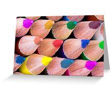 Close up macro shot of colouring pencils Greeting Card
