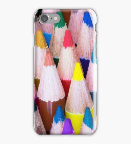 Close up macro shot of colouring pencils iPhone Case/Skin