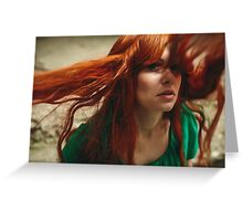 Beautiful ginger girl with deep green eyes and flying hair Greeting Card
