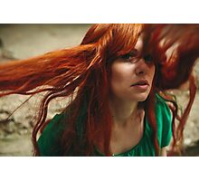 Beautiful ginger girl with deep green eyes and flying hair Photographic Print