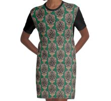 Tribal Mask Abstract Graphic T-Shirt Dress