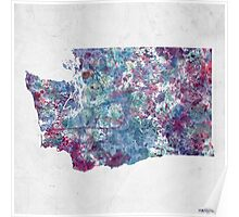 Washington map cold colors Poster