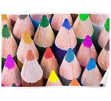 Close up macro shot of colouring pencils Poster