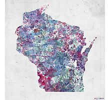 Wisconsin map cold colors Photographic Print