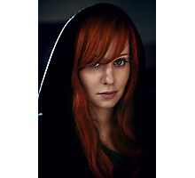 Dramatic portrait of beautiful red hair woman in black Photographic Print