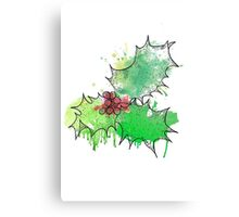 Holly Leaf (With berries) [Coloured] Canvas Print