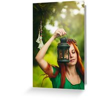 Beautiful red hair girl with deep green eyes  Greeting Card