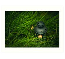 Background with lantern in grass Art Print