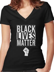 Black Lives Matter Race Unity Say No Racism T-shirt Women's Fitted V-Neck T-Shirt