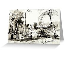 Artists at Work by the Johnstone River, Innisfail FNQ Greeting Card