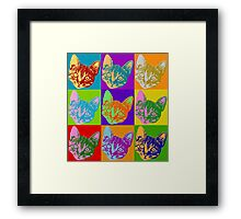 Cat Pop Art  Inspired Graphic Cats Kitty Bright Color Design Framed Print