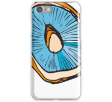 Mushrooms, Drawing in Blue and Muted Orange iPhone Case/Skin