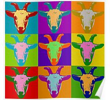Goat Pop Art Graphic BIlly Goat Bright Color Restro Poster
