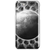 Psychedelic Black and White Fractal Mandala of Kepler-62e (w Deep Dreams) iPhone Case/Skin