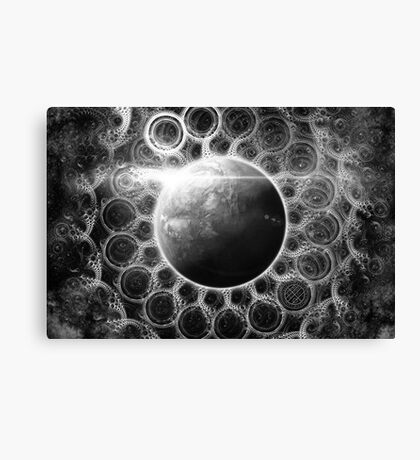 Psychedelic Black and White Fractal Mandala of Kepler-62e (w Deep Dreams) Canvas Print