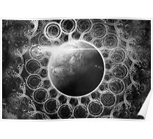 Psychedelic Black and White Fractal Mandala of Kepler-62e (w Deep Dreams) Poster