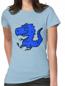 Blue Cartoon Dinosaur Drawing Womens Fitted T-Shirt