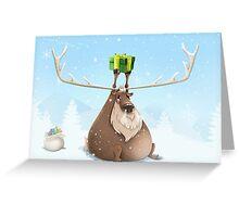 Fat Reindeer Greeting Card