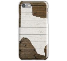 Texas State Shape Map White Paint on Wood Planks iPhone Case/Skin