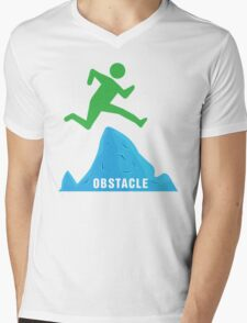 Stickman Jumping Over Obstacle Mens V-Neck T-Shirt