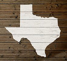 Texas State Shape Map White Paint on Wood Planks by map-lover
