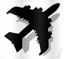 Flying Airplane Silhouette Poster